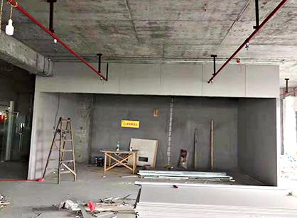 中邦物流办公室装修的施工现场